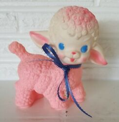 Vintage 1955 Pink Squeaky Lamb Toy The Sun Rubber Co 6 Figure Lot 2