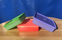New Tupperware Square Away The Original Sandwich Container Set Of 3 Greenpurp