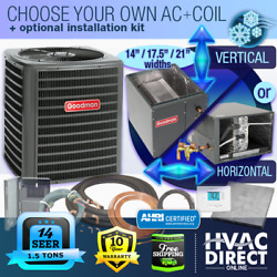 1.5 Ton 14 Seer Goodman Air Conditioner Gsx140181 + Build Your Own Coil Kit Ac
