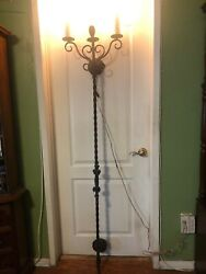 Vintage Pair Of Wrought Iron Palmira 2 Arms Wall Sconce 74 Tall X 15 Wide