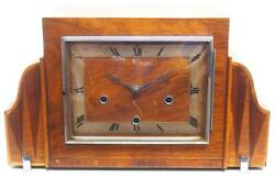 Antique Fine Smiths Art Deco Mantel Clock Triple Chime 8 Day Westminster English