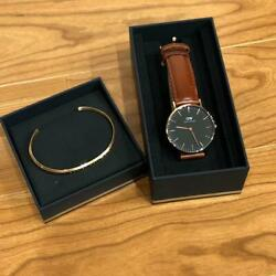 Daniel Wellington Stainless Steel Leather Belt Menand039s Analog Watch With Bracelet