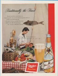 1950 Miller High Life Beer Milwaukee Wi Seafood Lobster Oysters Fish Bottle Ad