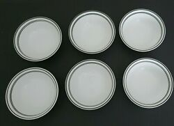 6 Corelle Corning Classic Cafe Black Striped Bowls 6 1 4quot; Coupe Soup Cereal
