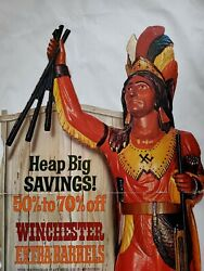 Old Winchester Gun Advertising Sign Cigar Indian See My Porcelain Neon Signs