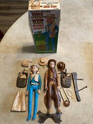 Vintage Johnny And Josie West Movable Action Figures With Accessories And Josie Box