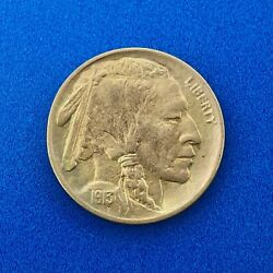 1913 D Indian Head Buffalo Nickel Type 1 First Year Issue Denver Coin Toned Au