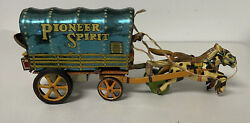 Vintage Pioneer Spirit Tin Litho Friction Covered Wagon Toy Vintage Horse Toy
