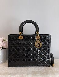 1000 Auth 🖤 Lady Dior 🖤 Large Black Patent Leather Gold Hw Bag