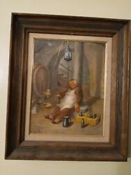 Original Painting Monk In Wine Cellar Drunk Signed S. Scalia In Frame