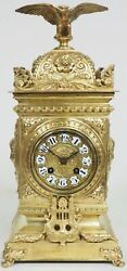 Antique French Ormolu Cubed Mantel Clock Embossed Decoration Eagle Finial 8 Day