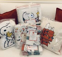Pottery Barn Kids 9pc Peanuts F/q Quilt Shams Queen Sheets++ Christmas Snoopy