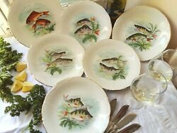 Set Of Six, French, Fish Plates. Porcelain Fish Plate Set. Fish Dinner Plate Set