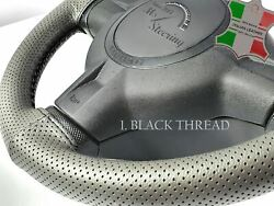 For Austin Healey Sprite Mk5 15and039and039 - Grey Perf Leather Steering Wheel Cover   Dif