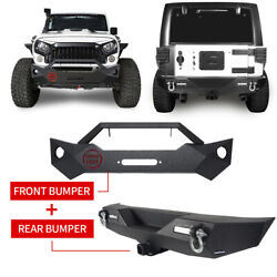 Rock Crawler Front And Rear Bumper W/ Winch Plate For 2007-2018 Jeep Wrangler Jk