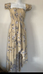 Maxi Off Shoulder Dress Boho Yellow Beige Floral High Low Small Women $8.00