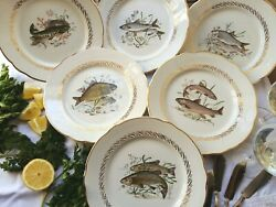 Set Of Six 1950's, French, Fish Plates. Fish Dinner Plate Set. Fish Plate Set.