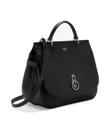 Mulberry Matte Black Bag Croc Suede Interior Silver Hardware New With Dust Bag