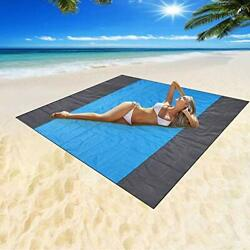 Sand Free Beach Blanket Extra Large Waterproof Beach Double grayamp;blue 82quot;x79quot; $24.59