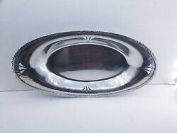 Signed Vintage Apollo Sheffield Brs Nickel Silver 3426 Hammered Oval Tray Dish