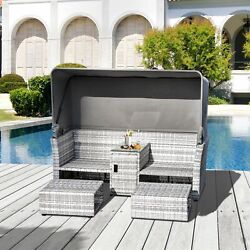 3 Pc Outdoor Rattan Daybed Sofa Footstool Coffee Table Set W/ Canopy, C