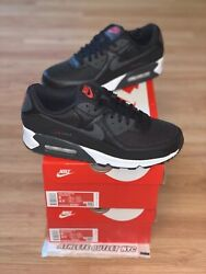 New Nike Air Max 90 Black Red Dark Grey Menand039s Size 8-9 Sneakers Dh4095-001