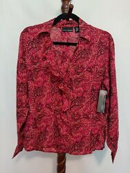 Relativity Design Lab M Women Top Red Paisley Ls V-neck Button Ruffled Nwt 48