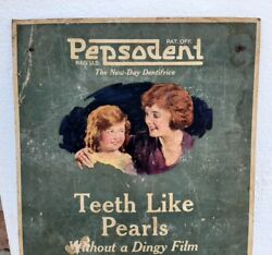 Pepsodent Proteolytic Tooth Paste Advertise 1930 Vintage Rare Cardboard Sign Usa