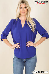 Zenana Wool Dobby Henley Blouse Rose Gold Button Sleeves