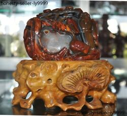 7 Old China Chinese Natural Agate Onyx Hand Carved Ducks Goose Old Man Statue