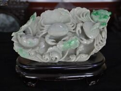 A 10 Chinese Natural Emerald Jade Jadeite Master Hand Carved Lotus Crab Statue