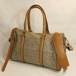 FOSSIL Crossbody Beige Brown Coated Canvas Leather Shoulder Handbag Bag Satchel $39.99