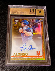 2019 Topps Chrome Pete Alonso Rc Auto /50 Gold Refractor Bgs 9.5 Gem+ W/10 Wow