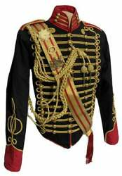 New 5 Pcs Menand039s Black Jacket Ceremonial Hussar Officers With Aiguillette