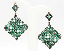 Aaa+ Antique Victorian Emerald And Diamond 925 Solid Sterling Silver Gift Earring