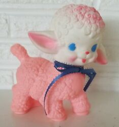 Vintage 1955 Pink Squeaky Lamb Toy The Sun Rubber Co 1 Squeaky Figure 6 Tall