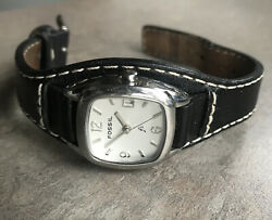 Fossil Women's Watch Silver Tone Case And Black Leather Strap Bin P $14.36