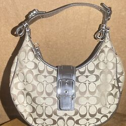 Coach Bag Tan Fabric And Brown Leather $40.00