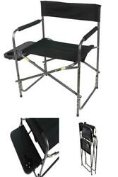 Outdoor Side Table Directors Chair Flat Frame W/cup Holder Foldable Camping Seat