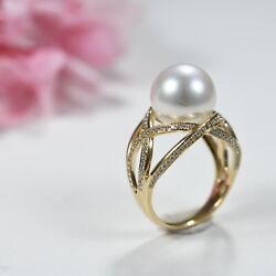 12mm South Sea Pearl Diamond Encrusted 18k Yellow Gold Ring