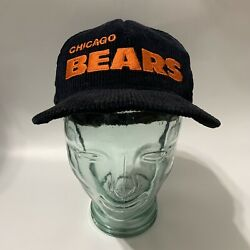 Vintage Nfl Football Chicago Bears Corduroy Snapback Hat Made In Usa