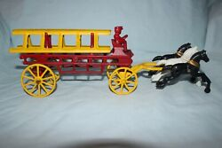 Vintage Cast Iron Horse Drawn Hook And Ladder Fire Truck W/ Driver - 3 Horses