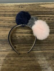 Anthropologie Navy Blue Hair Band With Faux Fur Pompons Brand New- Hair Accessor