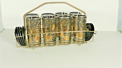 Fred Press Signed Mid-century Black And 22-karat Gold Abstract 16-piece Bar Set