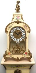 Vintage Fhs Boulle Westminster Chime 8 Day Mantle Clock And Stand Versailles 1980