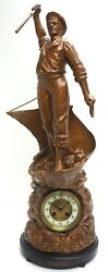 Antique French Figural Mantel Clock Cod Fishing 8 Day Striking Mantle Clock 1890