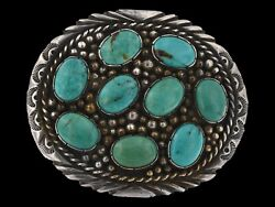 1980s Signed Rom Navajo Old Pawn Sterling Silver Royston Turquoise Belt Buckle