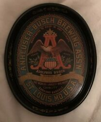 Vintage Anheuser Adolphus Busch Brewing Co Beer Metal Serving Tray St Louis Mo