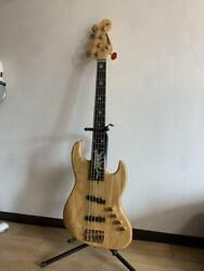 Moon Jj-5 Custom Jazz Natural 5 String Electric Bass Guitar With Leather Case