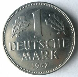 1957 F Germany Mark - High Grade - Early Series High Value Coin - Germany Bin 5